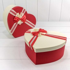 Набор коробок Сердце, Атласный бант, Красный, 31*27*13 см, 3 шт.