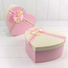 Набор коробок Сердце, Атласный бант, Розовый, 31*27*13 см, 3 шт.