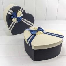 Набор коробок Сердце, Атласный бант, Темно-синий, 31*27*13 см, 3 шт.