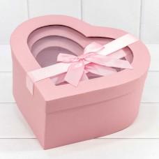 Набор коробок Сердце, Атласный бант, Розовый, 26*25*12 см, 3 шт.
