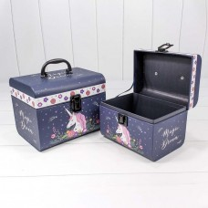 Набор коробок Чемодан, Волшебный единорог, Темно-синий, 22*17*18 см, 2 шт.