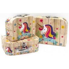 Набор коробок, Чемодан, Волшебный единорог, 30*21*9 см, 3 шт.