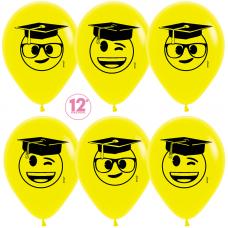 Шар (12''/30 см) Выпускник, Эмоджи, Желтый (020), пастель, 5 ст, 50 шт.