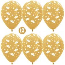 Шар (12''/30 см) Выпускной, Золото яркое (570), металлик, 5 ст, 50 шт.