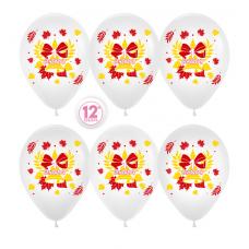 Шар (12''/30 см) 1 Сентября (колокольчик и листья), Белый (005), пастель, 2 ст, 50 шт.