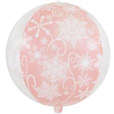Шар (22''/56 см) Сфера 3D, Снежинки, Розовый/Прозрачный, 1 шт.