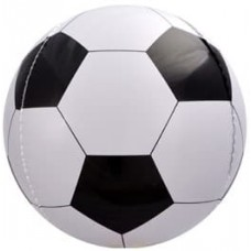 Шар (23''/58 см) Сфера 3D, Футбольный мяч, Черный, 1 шт.