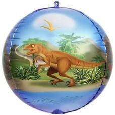 Шар (24''/61 см) Сфера 3D, Динозавры, 1 шт.