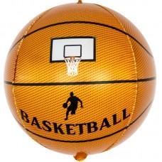 Шар (24''/61 см) Сфера 3D, Баскетбольный мяч, Коричневый, 1 шт.
