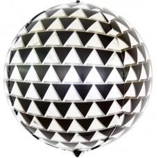 Шар (24''/61 см) Сфера 3D, Геометрия треугольников, Черный/Серебро, 1 шт.