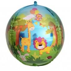 Шар (24''/61 см) Сфера 3D, Веселые животные (джунгли), 1 шт.