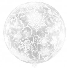 Шар (22''/56 см) Сфера 3D, Снежинки, Прозрачный, 1 шт.