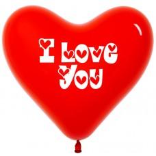Сердце (12''/30 см) I love you, Красный (015), пастель, 2 ст, 50 шт.
