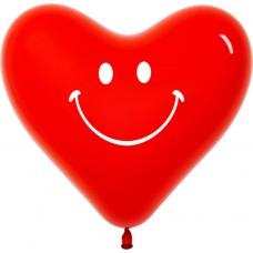 Сердце (12''/30 см) Смайл, Красный (315), кристалл, 2 ст, 50 шт.
