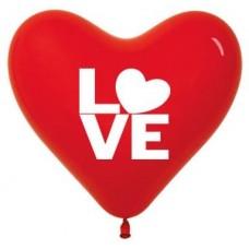 Сердце (12''/30 см) Любовь, Красный (015), пастель, 2 ст, 50 шт.