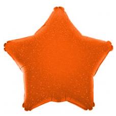 Шар (17''/43 см) Мини-звезда, Оранжевый, Голография, 1 шт.