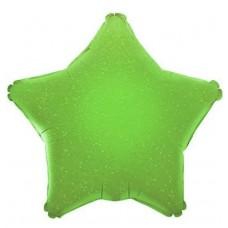 Шар (17''/43 см) Мини-звезда, Зеленый, Голография, 1 шт.