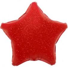 Шар (17''/43 см) Мини-звезда, Красный, Голография, 1 шт.