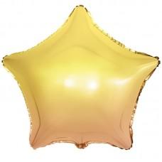 Шар (18''/46 см) Звезда, Желтый, Градиент, 1 шт.