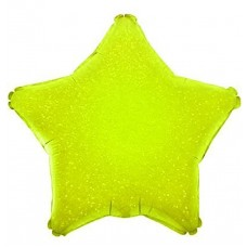 Шар (17''/43 см) Мини-звезда, Лайм, Голография, 1 шт.