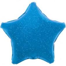 Шар (17''/43 см) Мини-звезда, Синий, Голография, 1 шт.
