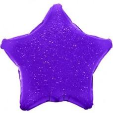 Шар (17''/43 см) Мини-звезда, Фиолетовый, Голография, 1 шт.