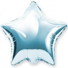 Шар (18''/46 см) Звезда, Светло-голубой, 1 шт.