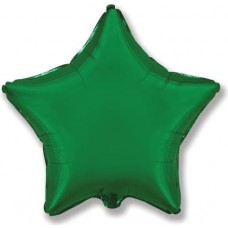 Шар (18''/46 см) Звезда, Зеленый, 1 шт.