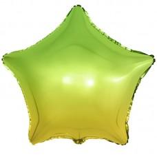 Шар (18''/46 см) Звезда, Зеленый, Градиент, 1 шт.