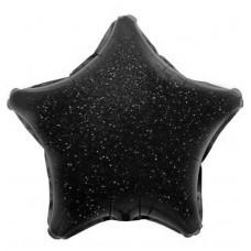 Шар (17''/43 см) Мини-звезда, Черный, Голография, 1 шт.