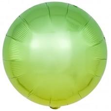 Шар (18''/46 см) Круг, Зеленый, Градиент, 1 шт.