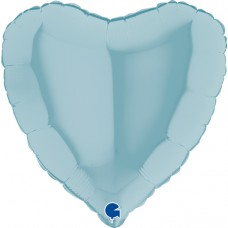 Шар (18''/46 см) Сердце, Голубой, 1 шт.