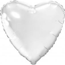 Шар (18''/46 см) Сердце, Белый блеск, 1 шт.