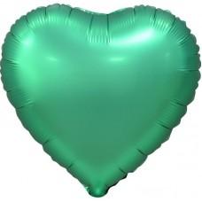 Шар (18''/46 см) Сердце, Зеленый, Сатин, 5 шт. в упак.
