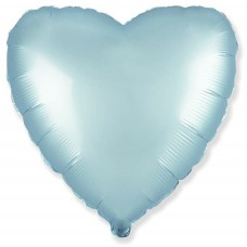 Шар (18''/46 см) Сердце, Голубой, Сатин, 1 шт.