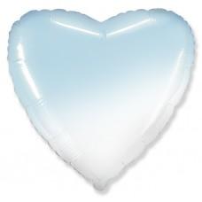 Шар (18''/46 см) Сердце, Голубой, Градиент, 1 шт.