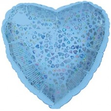 Шар (18''/46 см) Сердце, Голубой, Голография, 1 шт.