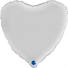 Шар (18''/46 см) Сердце, Белый, Сатин, 1 шт.