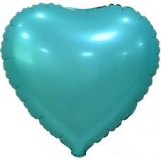 Шар (18''/46 см) Сердце, Бирюзовый, Сатин, 5 шт. в упак.