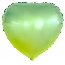 Шар (18''/46 см) Сердце, Зеленый, Градиент, 1 шт.