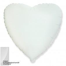 Шар (18''/46 см) Сердце, Белый, 1 шт. в упак.
