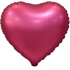 Шар (18''/46 см) Сердце, Бордовый, Сатин, 5 шт. в упак.
