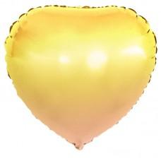 Шар (18''/46 см) Сердце, Желтый, Градиент, 1 шт.