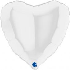 Шар (18''/46 см) Сердце, Белый, 1 шт.