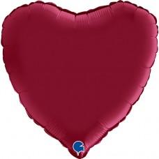Шар (18''/46 см) Сердце, Вишневый, Сатин, 1 шт.