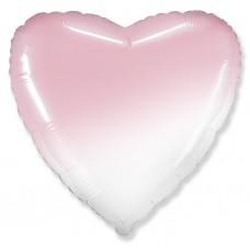 Шар (32''/81 см) Сердце, Розовый, Градиент, 1 шт.