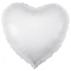 Шар (30''/76 см) Сердце, Белый, 1 шт.