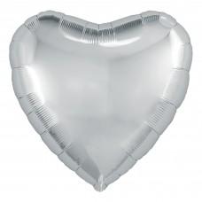 Шар (30''/76 см) Сердце, Серебро, 1 шт. в упак.