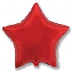 Шар (4''/10 см) Микро-звезда, Красный, 1 шт.