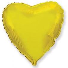 Шар (4''/10 см) Микро-сердце, Золото, 1 шт.